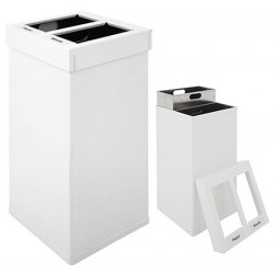 Poubelle tri sélectif Design aluminium blanc 2 x 25 L