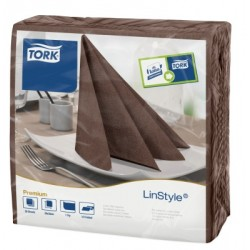 Carton de 12 paquets de 60 serviettes 39 x 39 cm Tork Premium Linestyle cacao