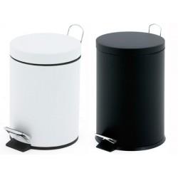 Lot de 6 poubelles à pédale blanc ou noir 3 litres