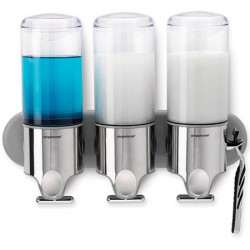 Distributeur de savon mural triple inox transparent 3 x 444 ml