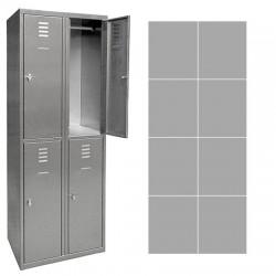 Vestiaire multicase Inox 2 colonnes 8 cases L60 x P49 x H180 cm