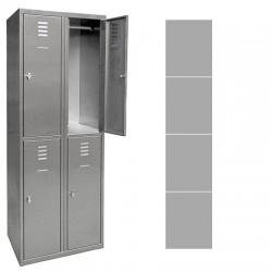 Vestiaire multicase Inox 1 colonne 4 cases L40 x P49 x H180 cm
