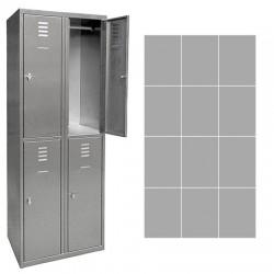 Vestiaire multicase Inox 3 colonnes 12 cases L120 x P49 x H180 cm