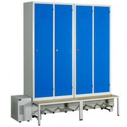 Vestiaire séchant Standard industrie salissante 4 cases sur socle banc L187 x P80 x H215 cm