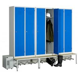 Vestiaire séchant Standard industrie salissante 6 cases sur socle banc L269 x P80 x H215 cm
