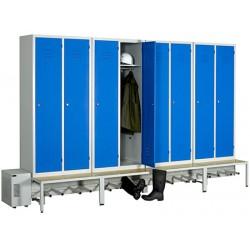 Vestiaire séchant Standard industrie salissante 8 cases sur socle banc L350 x P80 x H215 cm