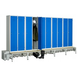 Vestiaire séchant Standard industrie salissante 10 cases sur socle banc L431 x P80 x H215 cm