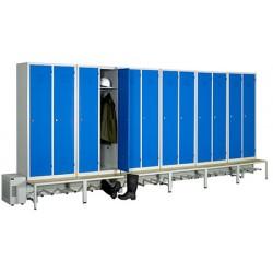 Vestiaire séchant Standard industrie salissante 12 cases sur socle banc L513 x P80 x H215 cm