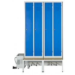 Vestiaire sechant confort industrie propre 4 cases/2pers. sur socle banc L150 x P80 x H215 cm