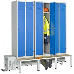 Vestiaire sechant confort industrie propre 18 cases/9 pers. sur socle banc L570 x P80 x H215 cm