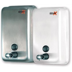 Distributeur de savon vertical 1200 ml inox blanc
