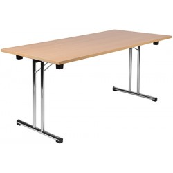 Table pliante à dégagement lateral Mélissa demi lune diam 160x80 cm stratifié