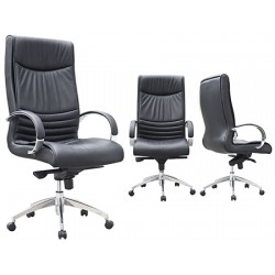 Fauteuil manager Ted cuir noir
