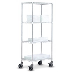 Rayonnage modulable High Racks mobile 4 tablettes chromé brillant L70 x P45 x H185 cm