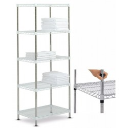 Rayonnage modulable High Racks fixe 5 tablettes chromé brillant L70 x P45 x H170 cm