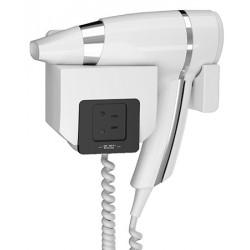 Sèche-cheveux mural JVD Brittony 1600W blanc support frontal prise rasoir monotension
