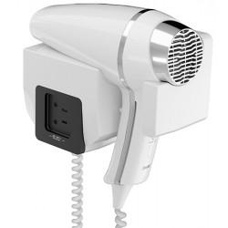 Sèche-cheveux mural JVD Clipper II 1400W blanc support frontal prise rasoir monotension