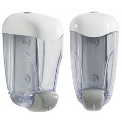 Ditributeur de savon 0,8 L transparent et blanc