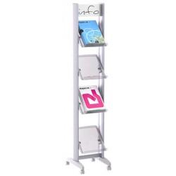 Présentoir mobile 4 tablettes plexi avec bandeau L33 X P38,5 X H167,8 cm