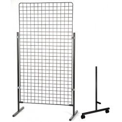 Paire de pieds à roulettes H 150 cm pour grille d'exposition modulaire