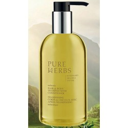 Lot de 24 flacons pompe Pure Herbs shampooing corps et cheveux 300 ml
