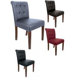 Lot de 2 chaises capitonnées Limoges bois et simili cuir
