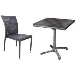Ensemble 5 tables pied Thiers basculant brillant plateau Werzalit diam 60 cm et 10 chaises Granada