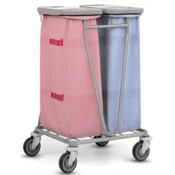 Chariot de collecte du linge pour 2 sacs