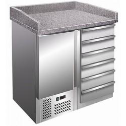 Table à pizza granit 1 porte 6 tiroirs inox  L95,5 cm