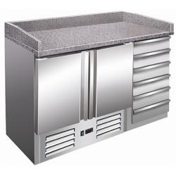Table à pizza granit 2 portes 6 tiroirs inox  L142 cm