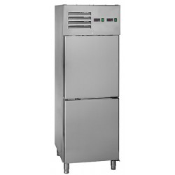 Combi réfrigérateur et congélateur 1 porte inox 2x129 l