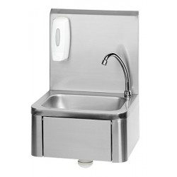 Lave-mains inox avec distributeur de savon et levier genou