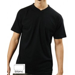Lot de 100 tee-shirts col V blanc 150 g