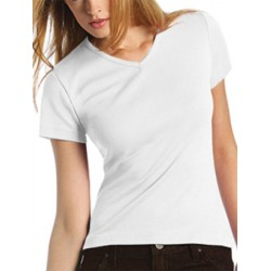 Tee-shirt femme col V premium blanc 190 g