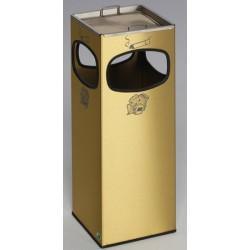 Cendrier poubelle 4 ouvertures 28,8L laiton et acier 25x25xH66 cm