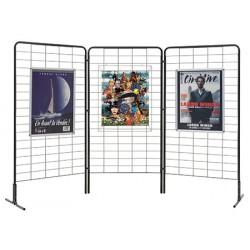Lot 3 grilles d'exposition noires avec clips et 2 pieds 200 x 100 cm