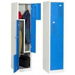 Vestiaire monobloc porte en L gris et bleu 2 cases L41,5 x P50 x H180 cm