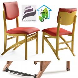 Chaise bois Althéa assise et dossier garnis tissu 1 avec Easy Roll