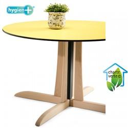 Table de restauration à dégagement latéral Rose bois plateau stratifié compact h75 x diam 120 cm