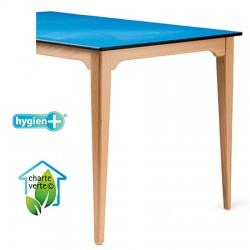 Table de restauration 4 pieds Violette bois plateau stratifié compact 140x80xh75 cm