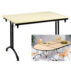 Table pliante Omega stratifiée ép. 21mm chant PVC 120x80 cm hêtre/gris