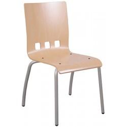 Lot de 4 chaises coque bois Bertille 4 pieds diam 20 mm T6 coloris stock