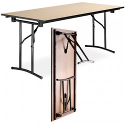 Table pliante polyvalente Diane mélaminé chant PVC 180x80 cm