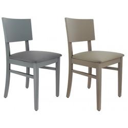 Lot de 2 chaises Valence 4 pieds bois et simili cuir
