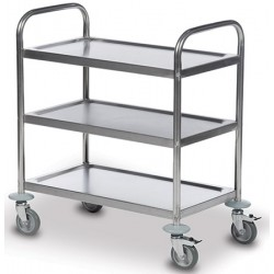 Chariot inox 3 plateaux 82,5x50 cm