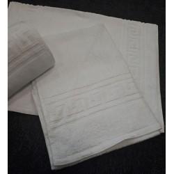 Lot de 12 serviettes de toilette 50x90 cm 100% coton blanc liteau grec 390g