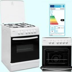 Cuisinière 4 gaz et four électrique 60x60 cm blanc