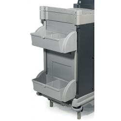 Kit 2 grandes étagères de rangement compartimentées avec  barre d'accroche pour chariots d'étage Nice