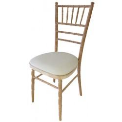 Lot de 4 chaises Réception bois cérusé avec coussin vinyl