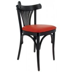 Lot de 2 chaises Nouvelle Orléans hêtre noir et simili cuir rouge